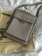 Burberry Shaldon Messenger Bag Grey Leather New Nwt - $550.00