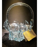Vintage 1980s Blue Fenton Art Glass Crystal Rope Handle Basket Junior Th... - $115.00