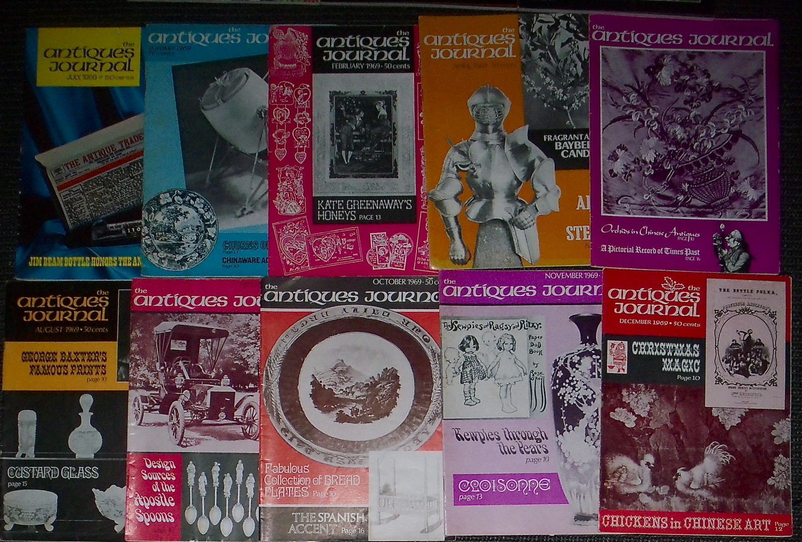 10 issues of The Antiques Journal magazine July 1968 & Dec. 1969