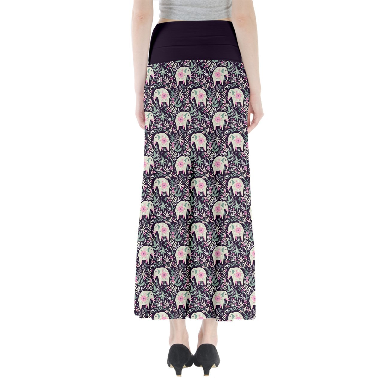Women's Elephant Printed Summer Casual Stretchy Fit Long Maxi Skirt Size XS-3XL
