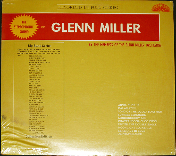 "Glenn Miller  ""The Stereophonic Sound Of""  Bright Orange Records X-BO-703   LP"