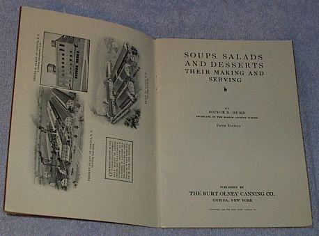 Soups Salads and Desserts Recipe Cookbook Harvard Illinois 1908