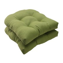 Pillow Perfect Indoor/Outdoor Forsyth Green Wicker Seat Cushion, Set of ... - £36.21 GBP