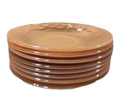 Vintage Fire King Glassware Peach Lustre Marigold Carnival Leaf Plate Cu... - $139.99