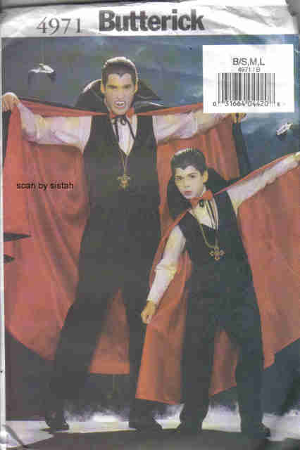 Butterick 4971 Pattern boys S M L Cape Vest Pants vampire count dracula costume
