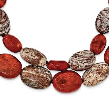Primary image for Lex & Lu Sterling Silver Carnelian/Reconstituted Coral/Red Zebra Jasper Necklace
