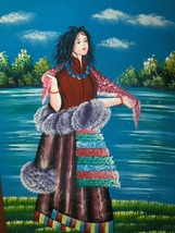 Colorful Acrylic Scroll Painting On Canvas Of Woman In Beautiful Dress b... - $29.97