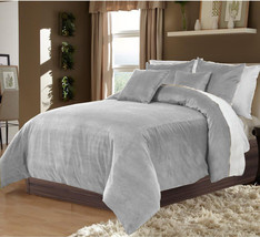 Hotel Collection Bedding,100% Duvet Quilt Cover set 3pc - Silver - $92.72+