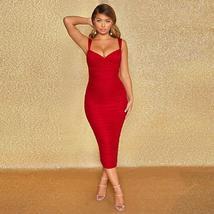 New Arrival Women Spaghetti Strap Bandage Dress Bodycon Night Club Party Dress image 4