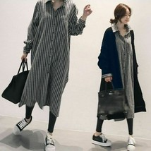 New Spring Fashion Casual Striped Turn Down Collar Loose Full Sleeve Wom... - $33.97