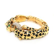 David Webb Vintage 18K Yellow Leopard Double Head Pave Diamond Bracelet - $55,000.00