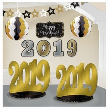 2019 New Years Eve Graduation Room Decorating Kit 10 Pc Black Gold Silver - $9.99