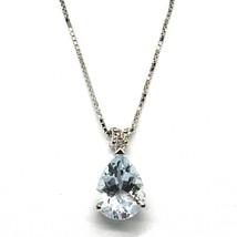18K WHITE GOLD NECKLACE AQUAMARINE 1.00 DROP CUT & DIAMOND, PENDANT & CHAIN image 1