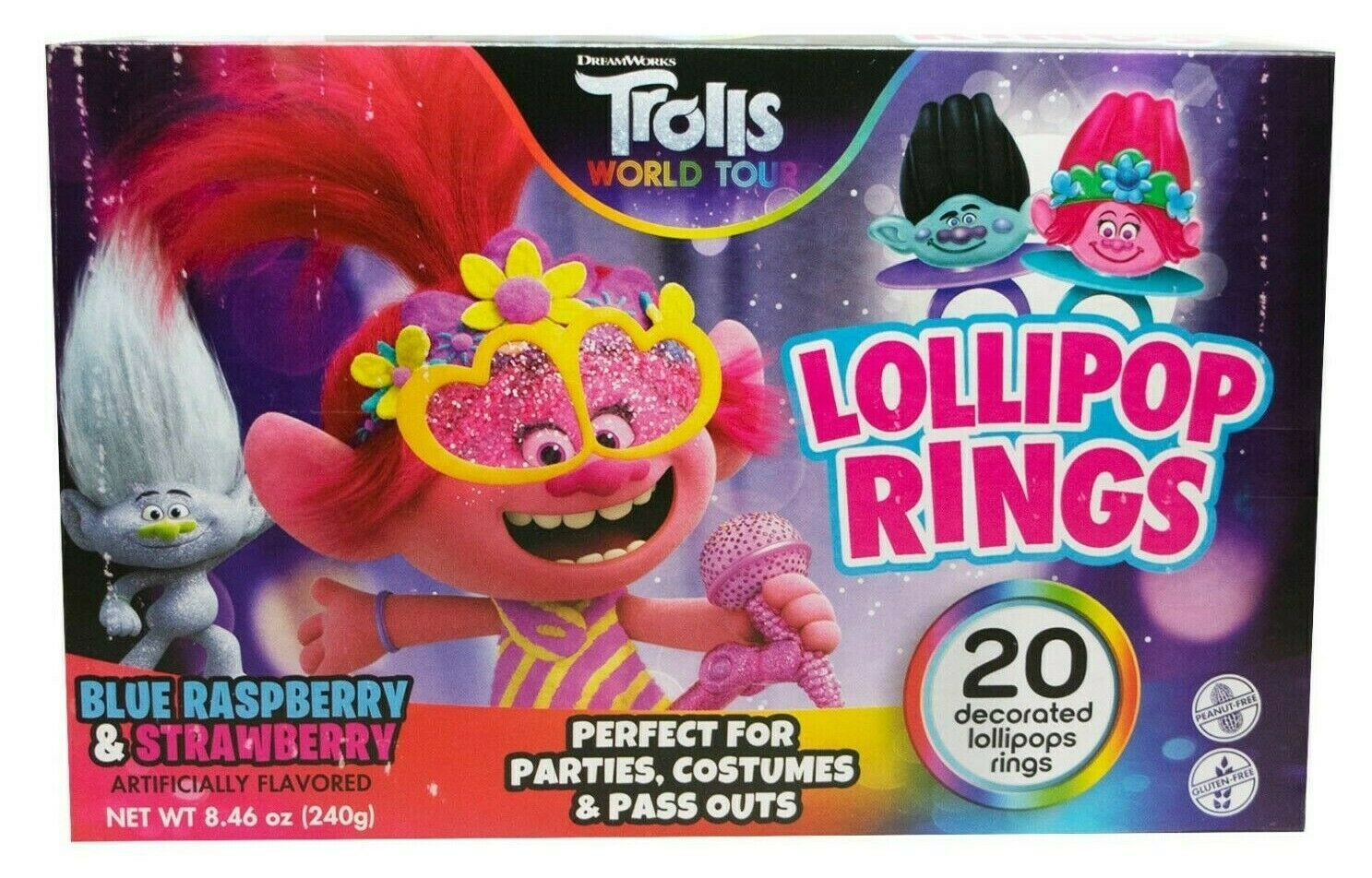 20ct Trolls World Tour Decorated Lollipop Rings Party Favor Candy New in Box