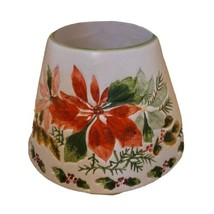 Yankee Candle Large Christmas Red Pink Poinsettia 22 oz Jar Topper Lamp ... - $19.34