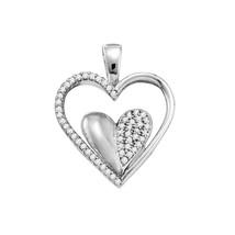 10k White Gold Womens Round Diamond Double Cradled Heart Pendant 1/5 Cttw - $288.00