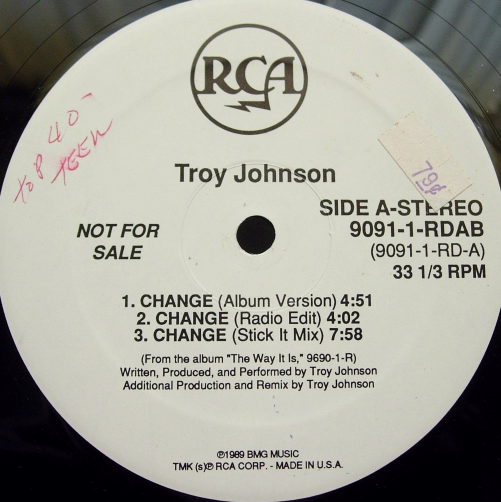 "Troy Johnson - Change - RCA 9091-1-RDAB - 12"" single - PROMO"