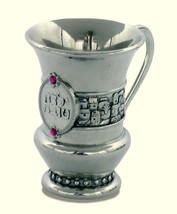 Judaica Shabbat Kiddush Cup Yalda Tova Good Girl Pink Enamel Jerusalem View Gift
