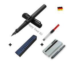 Lamy Safari Black Fountain Pen F Nib Set with Free Converter + 5 black T10 ink - $26.10