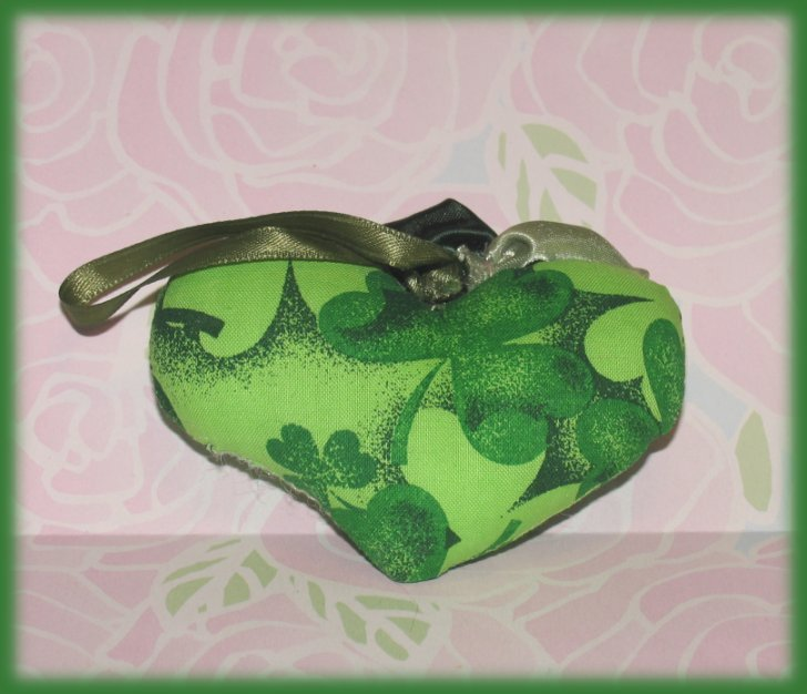 Scented Mini  Heart Pillow Green Clover Theme Hand Made