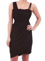Anthropologie French Frappe Mini Dress Large 10 12 Black Hi Lo Stretchy ... - $89.00