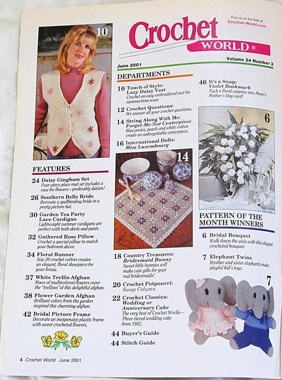 Crochet World Magazine June 2001 Magazine Back Issues