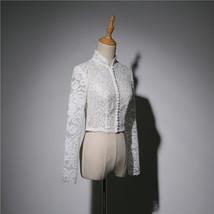 Women Retro Square Neck Lace Shirt Button Down Wedding Bridal Lace Crop Shirts image 4