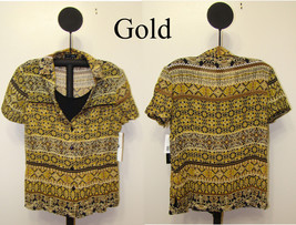 Notations Gold Women's Button Front Bead Trim Layered Look Top - Size M - $5.99