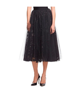 XL ROBERT RODRIGUEZ  Black Floral Layered Tulle Shimmer Evening Skirt - $59.39