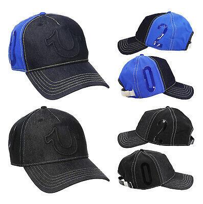 True Religion Men's Raised Horseshoe Logo Baseball Hat Sports Strapback Cap