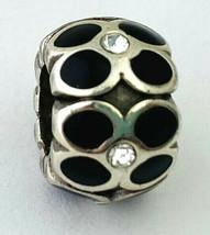 Brighton Ring Of Flowers Bead, J9311B, Silver, Black Enamel, Crystals, New - $12.35