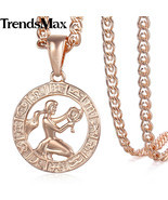 Virgo Zodiac Sign Necklace For Women Men 585 Rose Gold Pendant Necklace ... - £8.10 GBP