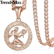 Virgo Zodiac Sign Necklace For Women Men 585 Rose Gold Pendant Necklace ... - £7.94 GBP