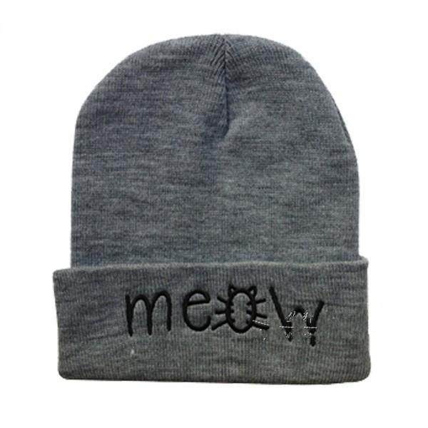 Meow Beanie Men's Spring Beanies Winter Hats Letters Printed Women Hip-Hop Cotto
