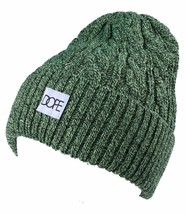 Dope Couture Yellow/Green Black Cable Knit Cuff Fold Beanie Winter Hat NWT image 2