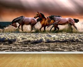 Horses Horse Herd Beach Backdrop Wall Art Mural Wall Paper Self Adhesive Vinyl - $43.11+