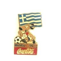 Coca Cola Greece World Cup Flag 1994 Lapel Pin Striker the Dog Soccer Ball - $13.99