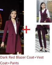 Women's Fashion Career Apparel High Quality 3 Piece Formal Business Pant Suits image 2