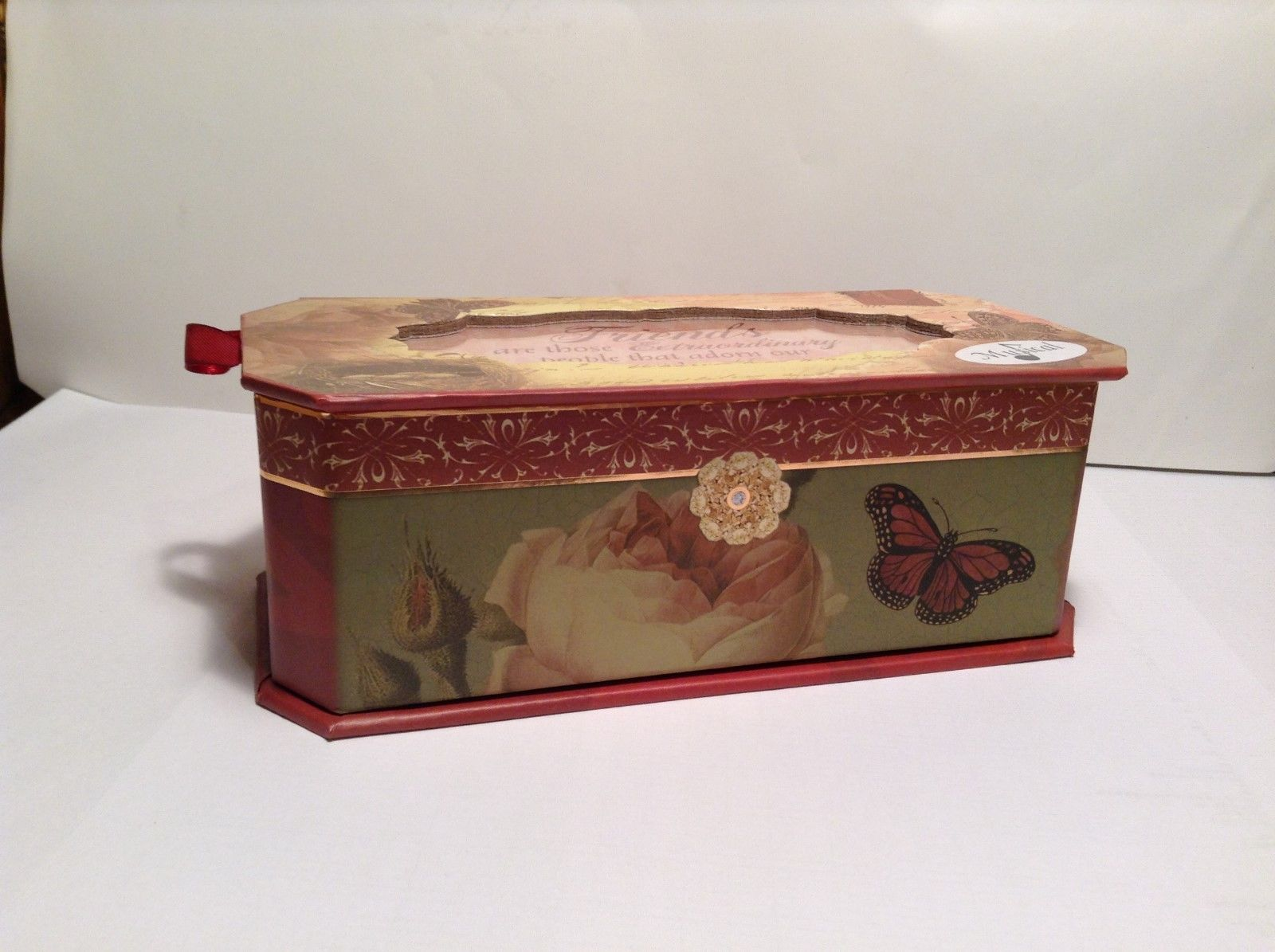 NEW Belle Pasier Mahogany Butterfly Music Box