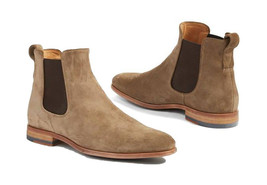Handmade Men's Beige Tan Suede High Ankle Chelsea Boot image 1