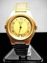 Mint New Old Stock Mens Bulova Quartz Watch Gold Tone Made in Germany Date - $89.99