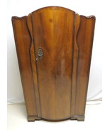 Antique Art Deco Walnut Wardrobe Armoire Fitted Interior Hall Closet Eng... - $296.95