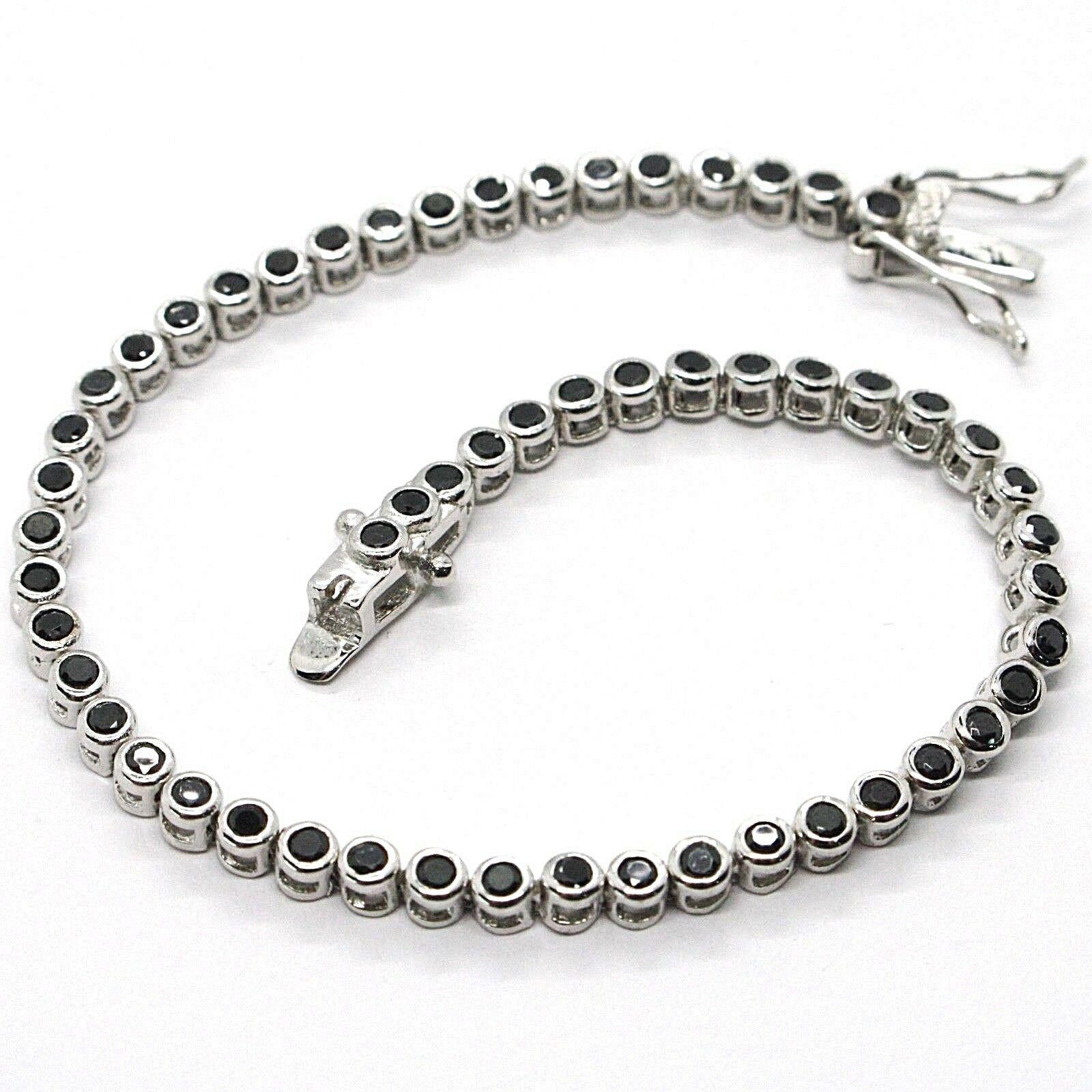 Bracelet Tennis, Argent 925, Zirconia Cubique Noirs, Taille Brillant, 3 MM