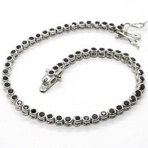 Bracelet Tennis, Argent 925, Zirconia Cubique Noirs, Taille Brillant, 3 MM - $48.84