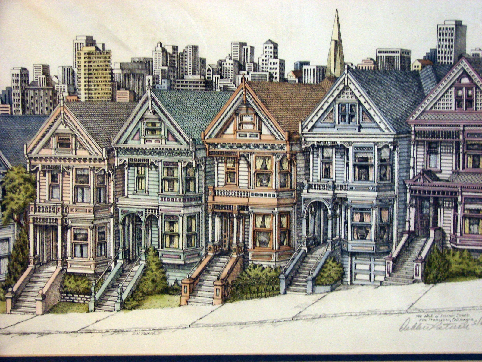 San Francisco Art : Debbie Patrick Hand Colored Signed Print of Steiner St.