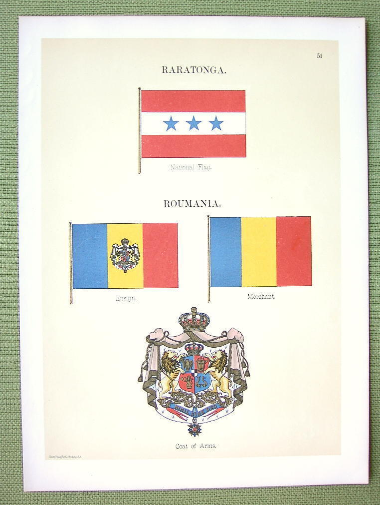 Primary image for FLAGS Raratonga or Cook Islands & Romania - 1899 Color Litho Print