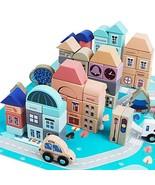 GEMEM Wooden Building Blocks Set-113 Pieces for Children City Constructi... - $34.42