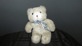 "1987 plush teddy bear Manhattan Toy company 9"" light brown tan cream plaid bow - $14.84"