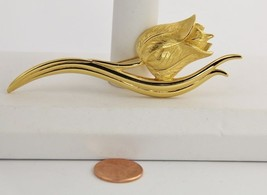 80s Vintage Jewelry Monet Large Gold Metal Tulip Flower Brooch - $15.00