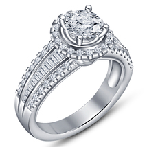 Pure 925 Silver White Gold Plated Round Cut Diamond Women's Wedding Brid... - $94.98